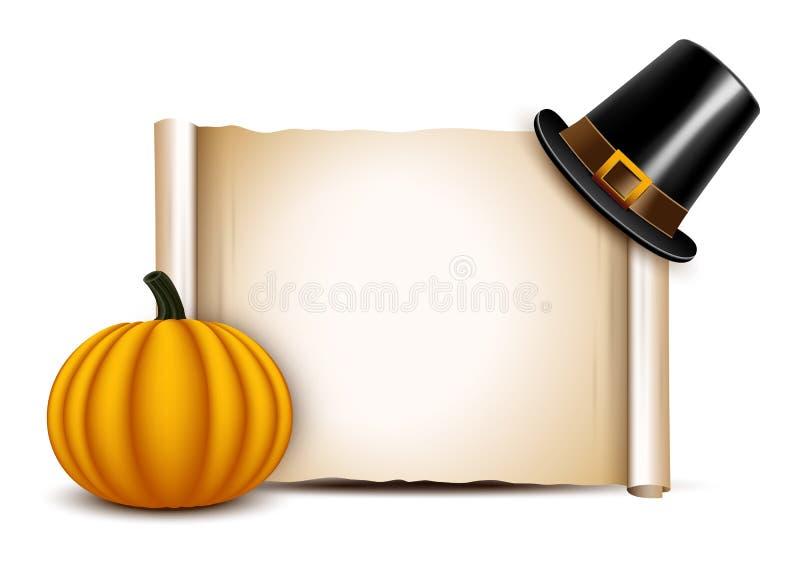 Dziękczynienie pergamin z pielgrzymim kapeluszem i ilustracji