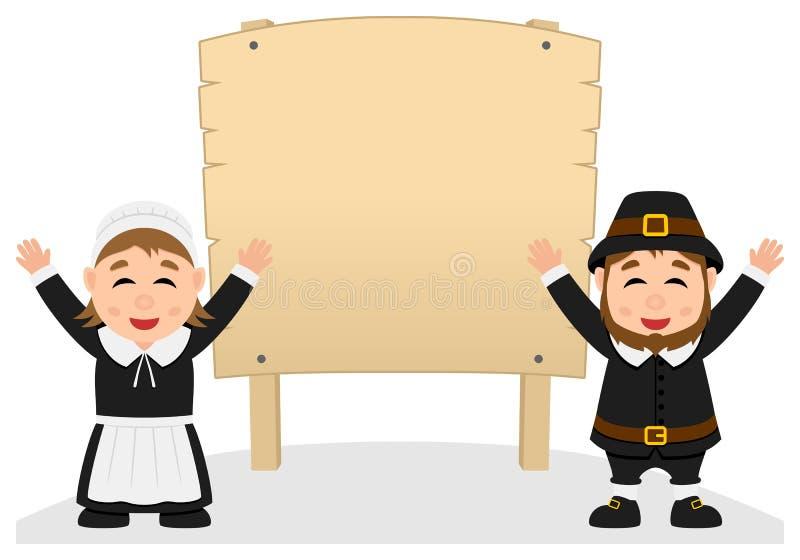 Dziękczynienie pielgrzymi i Drewniany sztandar ilustracja wektor