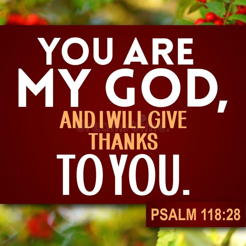 Dziękczynienie psalmu 118:28 zdjęcie stock