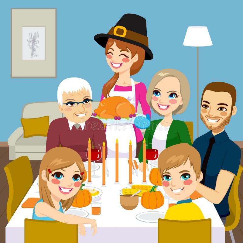 Dziękczynienie rodziny gość restauracji ilustracja wektor