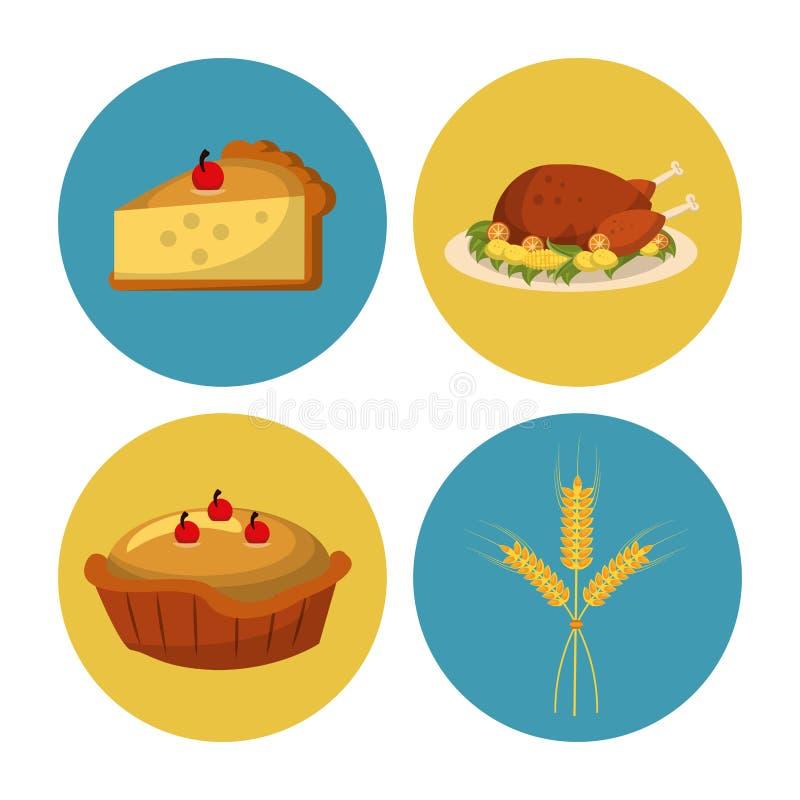 Dziękczynienie round ikony ustawiać royalty ilustracja