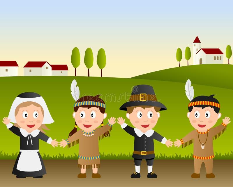 Dziękczynienie szczęśliwi Dzieciaki ilustracja wektor