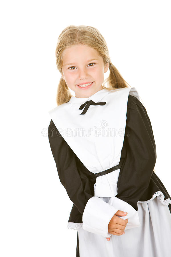 Dziękczynienie: Uśmiechnięty dziewczyna pielgrzym Na bielu obrazy stock