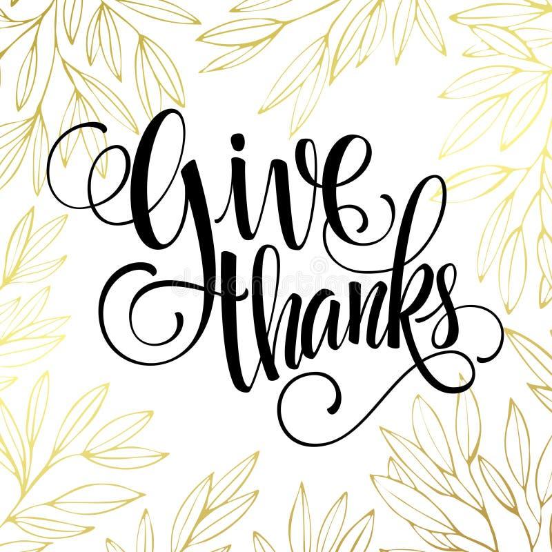 Dziękczynienie - złocisty błyskotliwy literowanie projekt royalty ilustracja