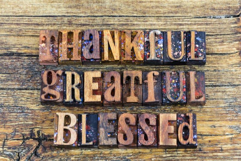 Dziękczynny wdzięczny błogosławiony znak fotografia stock