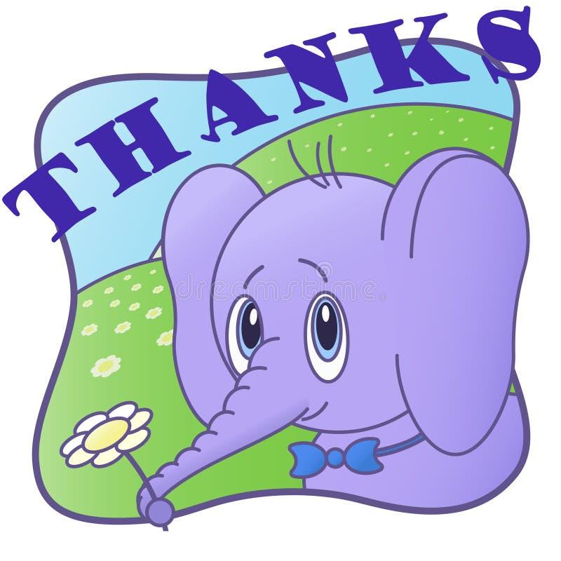 Dziękuje ciebie śliczna pocztówka z słoniem, royalty ilustracja