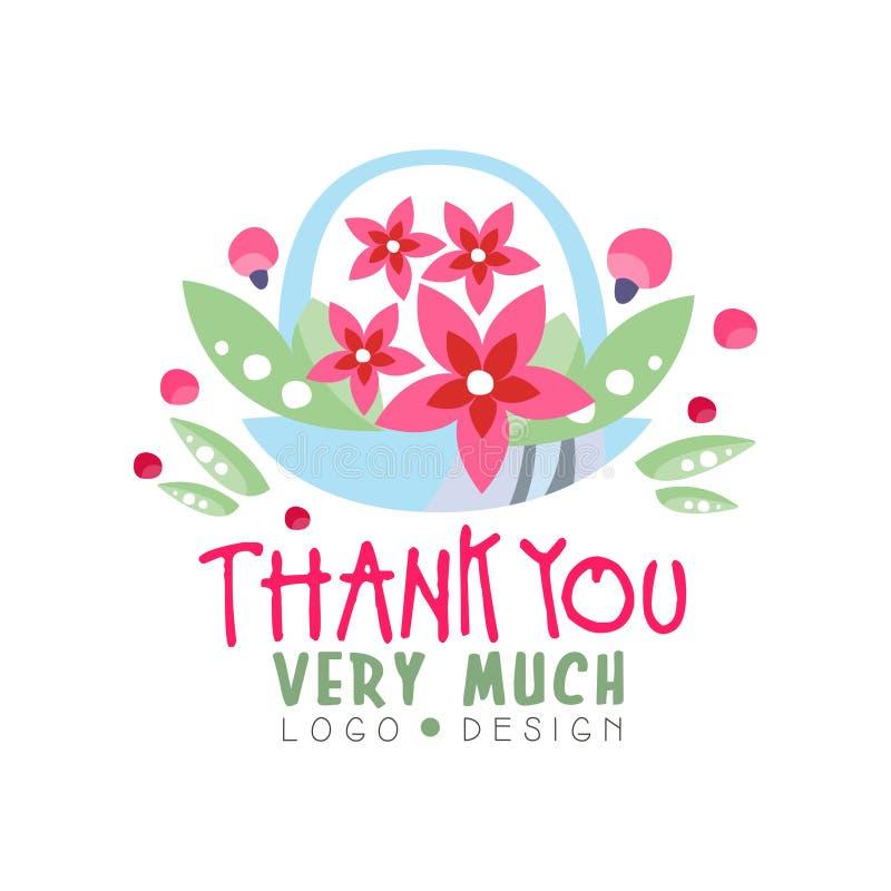 Dziękuje Ciebie Bardzo Dużo logo projekt, wakacje karta, sztandar, zaproszenie z literowaniem, kolorowa etykietka z kwiecistymi e ilustracji