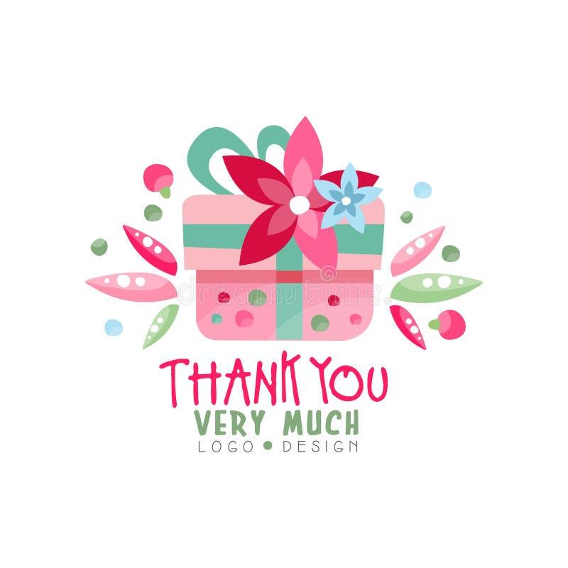 Dziękuje Ciebie Bardzo Dużo logo projekt, wakacje karta, sztandar, zaproszenie z literowaniem, kolorowa etykietka w menchia kolor ilustracja wektor