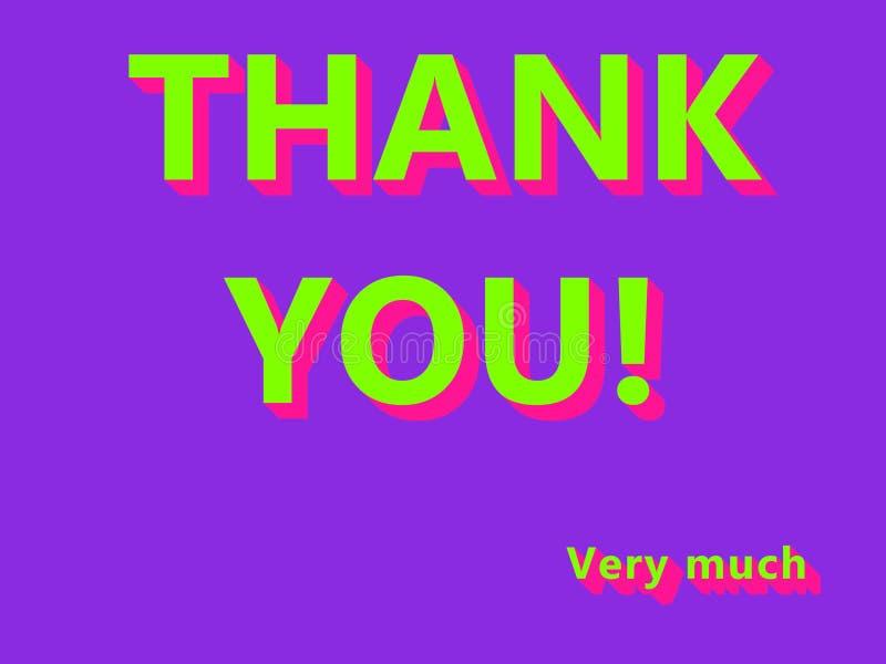 Dziękuje ciebie! Bardzo dużo UFO zieleń, Plastik menchia Barwił tekst na Protonowym Purpurowym tle ilustracja wektor