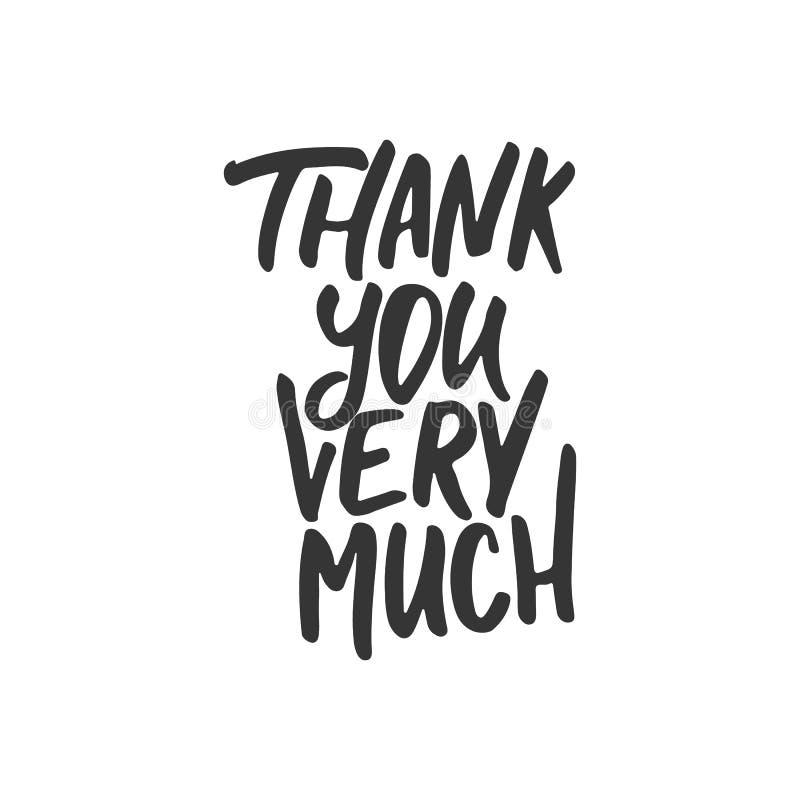 Dziękuje ciebie bardzo mocno - wręcza patroszonego literowanie zwrot odizolowywającego na białym tle Zabawa atramentu szczotkarsk ilustracja wektor