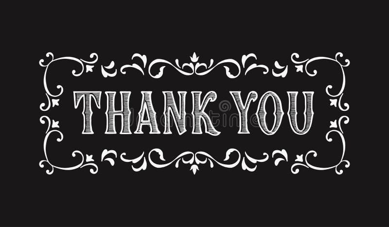 Dziękuje ciebie dla kartka z pozdrowieniami w wiktoriański stylu literowanie ilustracji