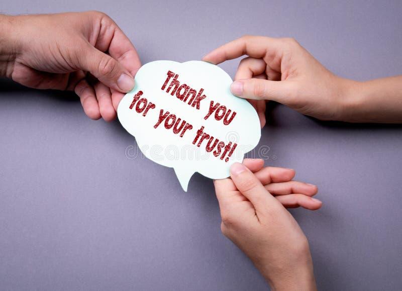 Dziękuje ciebie dla twój zaufania Ogólnospołecznego medialnego marketingowego pojęcia fotografia royalty free