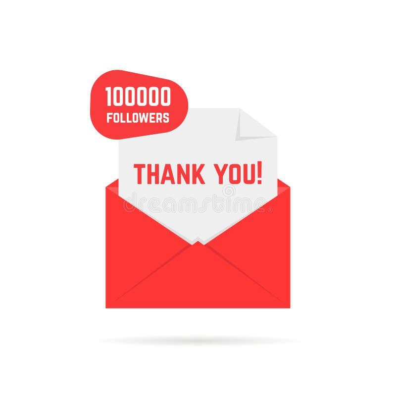 Dziękuje ciebie dla 100000 zwolenników teksta w czerwień liście royalty ilustracja