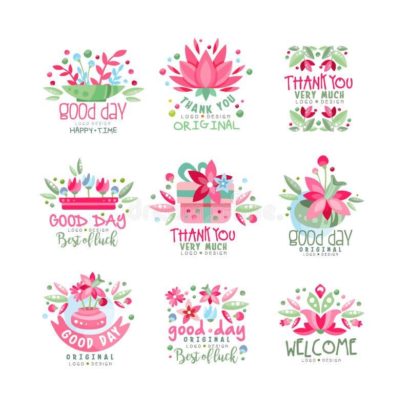 Dziękuje Ciebie, dobry dzień, Mile widziany logo projekta set, karta, sztandar, zaproszenie z literowaniem, kolorowa etykietka z  royalty ilustracja