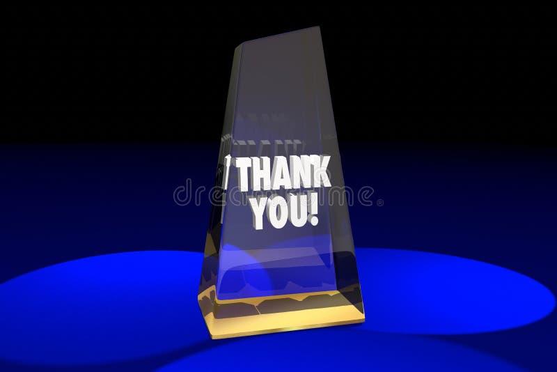 Dziękuje Ciebie docenienia rozpoznania nagrody słów 3d ilustracja ilustracja wektor