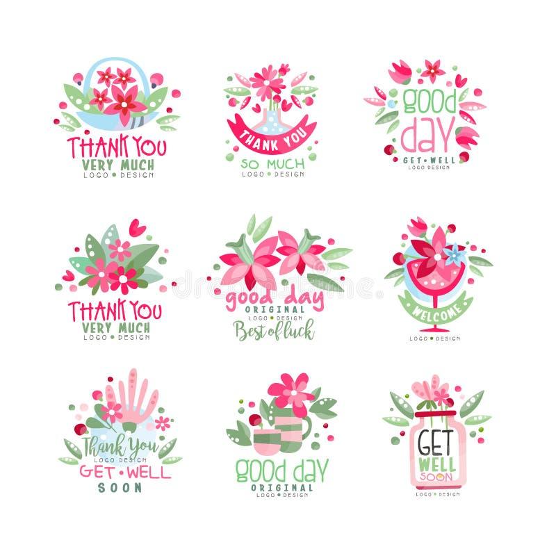 Dziękuje Ciebie, Dostaje Dobrze logo projekta set, dobry dzień, wakacje karta, sztandar, zaproszenie z literowaniem, kolorowa ety ilustracja wektor