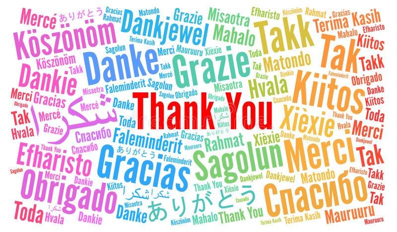 Dziękuje Ciebie Formułować chmurę w różnych językach ilustracji
