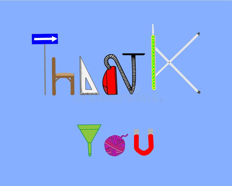 Dziękuje ciebie FORMUŁOWAĆ Z przedmiotami ilustracji