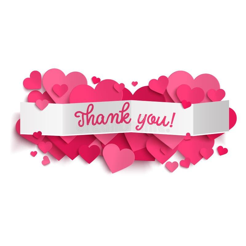 Dziękuje ciebie i różowi serca tekst na białego papieru sztandarze