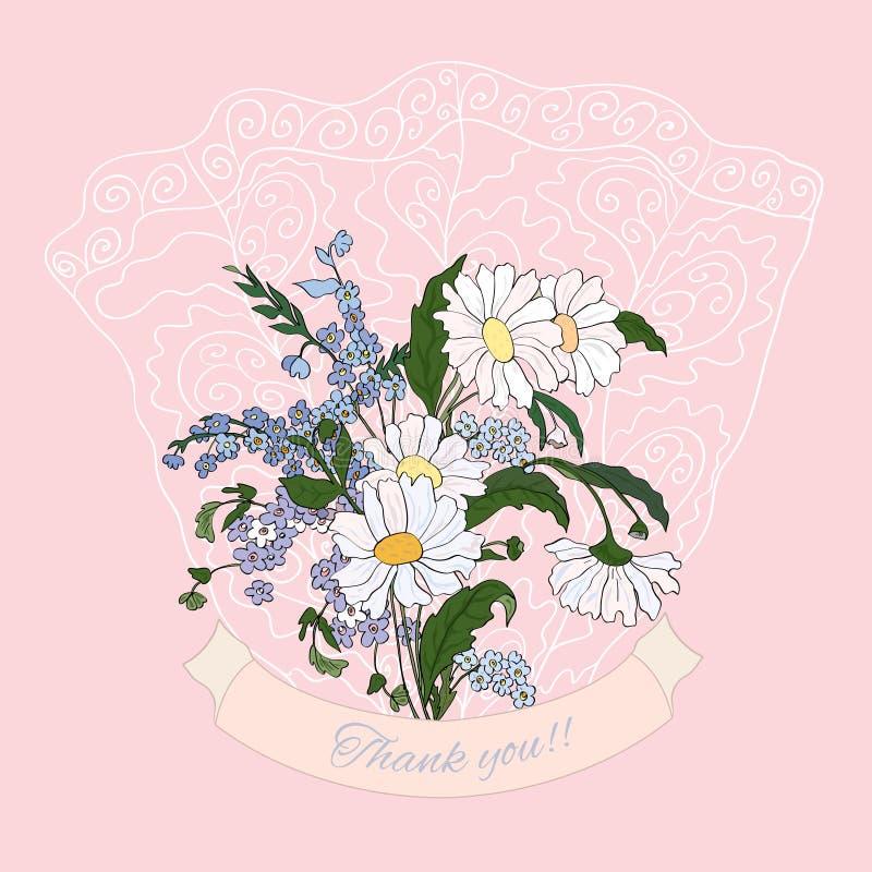 Dziękuje ciebie karcianego z różowymi stokrotkami ilustracja wektor