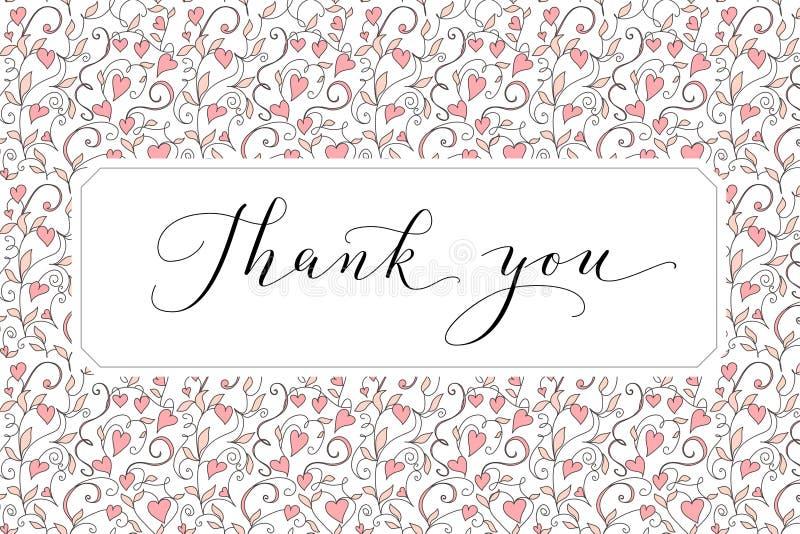 Dziękuje ciebie karcianego z ręka pisać obyczajowym kaligrafii i serc tłem Wielki dla kartek z pozdrowieniami, ślubni zaproszenia zdjęcie stock