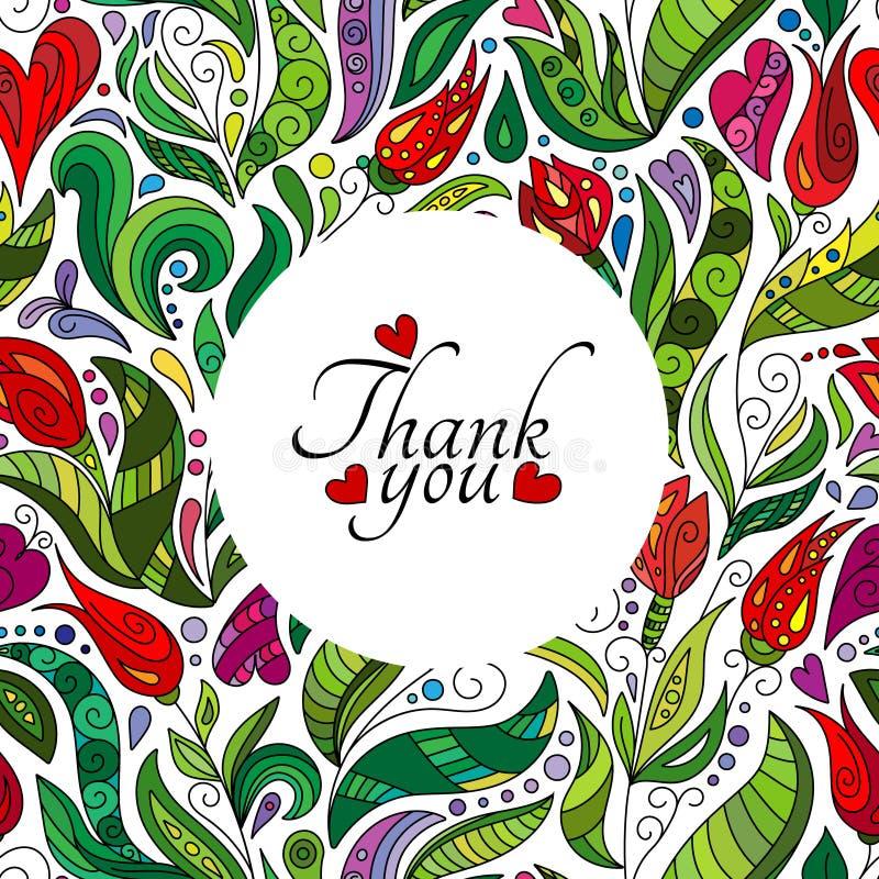 Dziękuje ciebie karciany projekt, ręka rysujący śliczni kwiaty Barwiona ozdobna kwiecista doodle rama royalty ilustracja