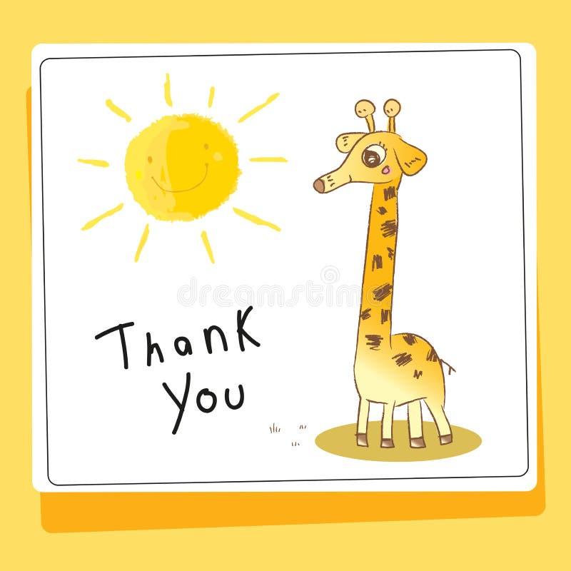 Dziękuje ciebie kochać zwierzę kartę i pomagać ilustracja wektor
