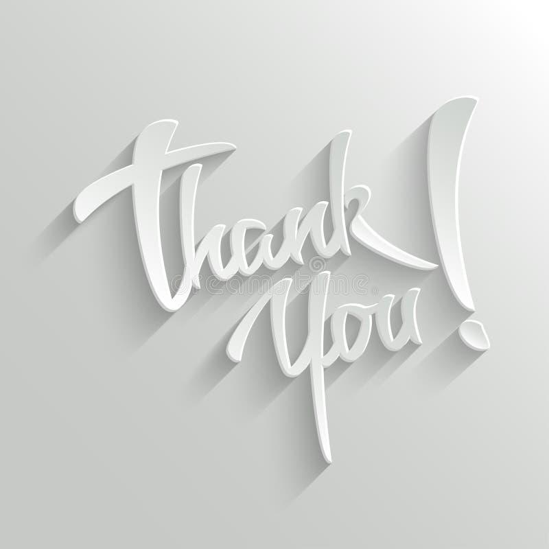 Dziękuje Ciebie literowania kartka z pozdrowieniami ilustracja wektor