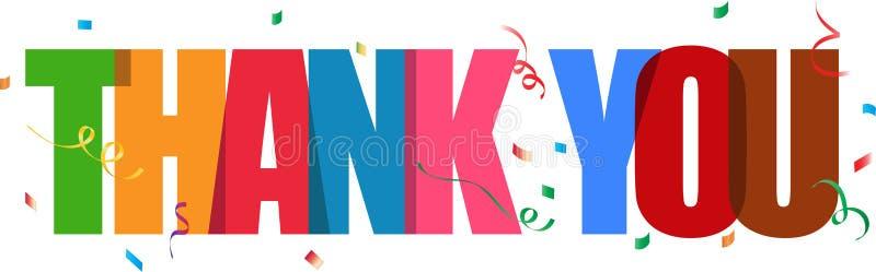 Dziękuje ciebie literowanie confetti znak royalty ilustracja