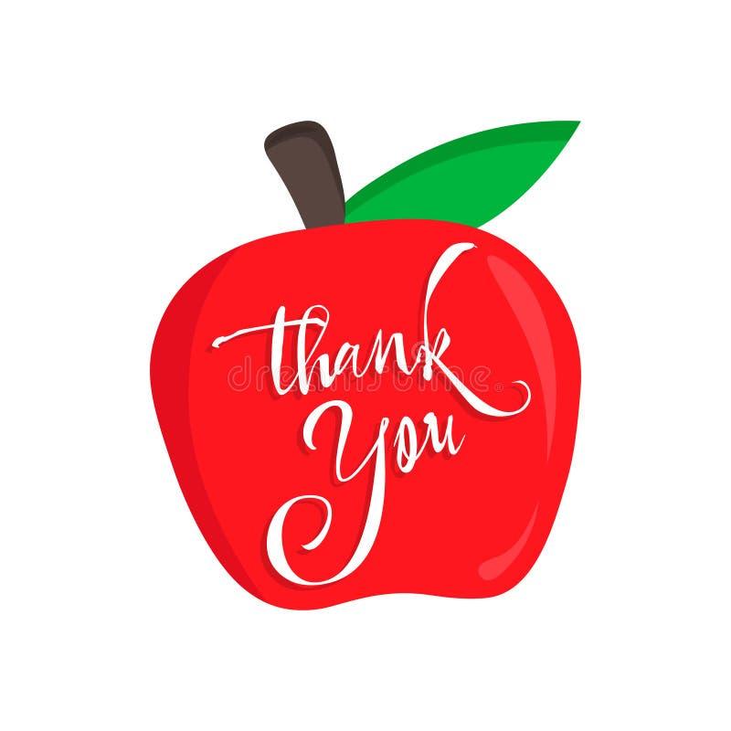 Dziękuje ciebie nauczyciela wektoru karta z czerwonym jabłkiem Szczęśliwa nauczyciela dnia kaligrafia ilustracja wektor