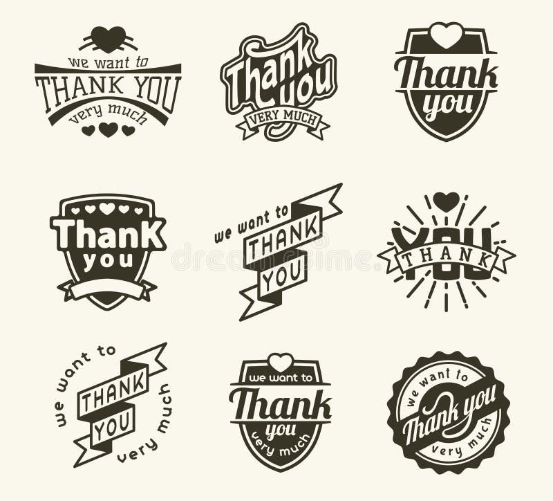 Dziękuje ciebie odznaka logo ilustracja wektor
