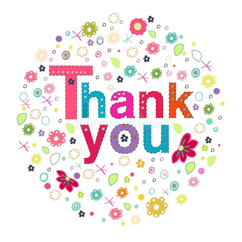 Dziękuje ciebie okrążać kartka z pozdrowieniami z kolorowymi kwiatami ilustracja wektor