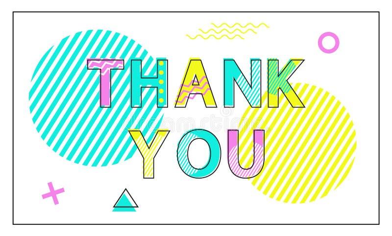 Dziękuje Ciebie Plakatowe Geometryczne postacie w Liniowym stylu royalty ilustracja
