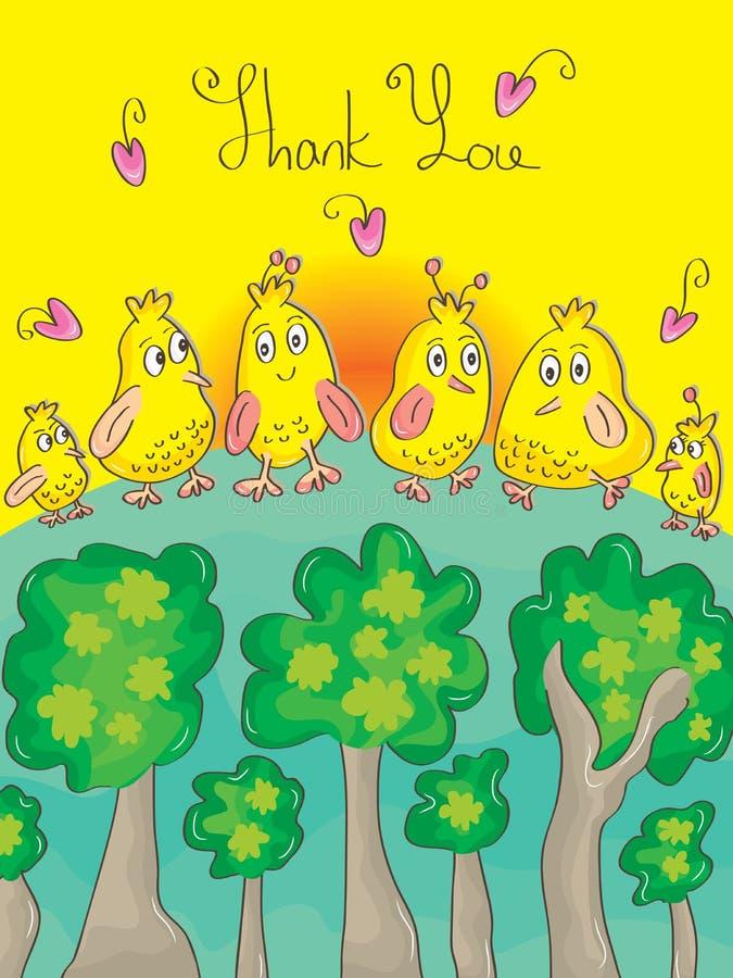 Dziękuje Ciebie Ptasiego royalty ilustracja