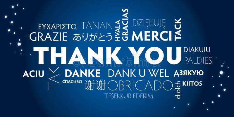 Dziękuje ciebie różnojęzycznego, błękitny royalty ilustracja