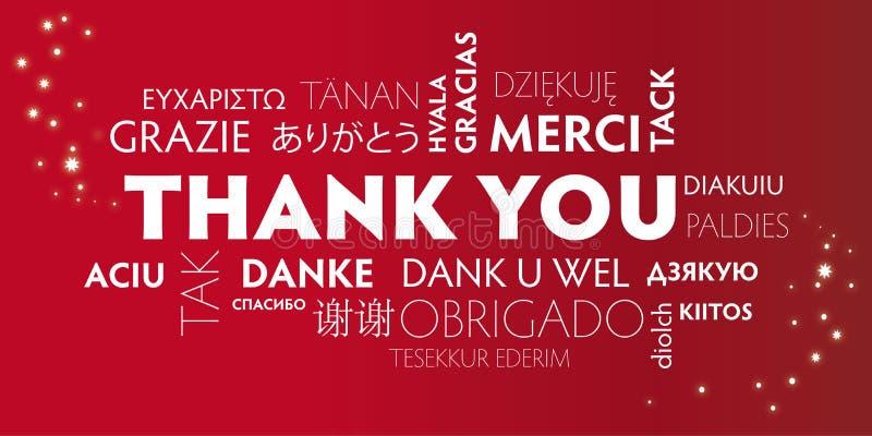 Dziękuje Ciebie różnojęzycznego, czerwień royalty ilustracja