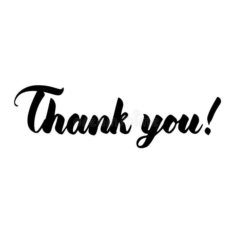 Dziękuje Ciebie ręcznie pisany inskrypcja Pisać list elegancki pojedynczy białe tło ilustracji
