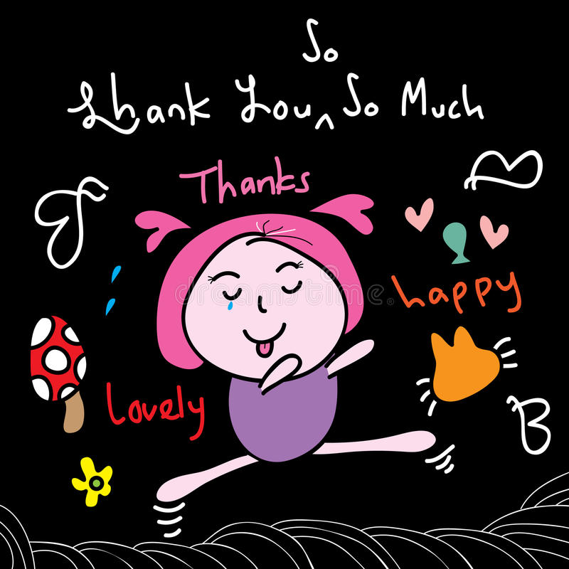 Dziękuje ciebie szczęśliwy skoku dzieciak royalty ilustracja