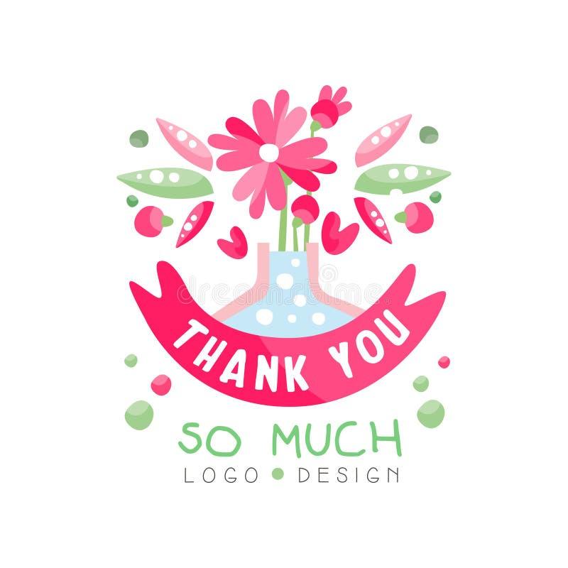 Dziękuje Ciebie Tak Dużo logo projekt, wakacje karta, sztandar, zaproszenie z literowaniem, kolorowa etykietka z kwiecistymi elem royalty ilustracja