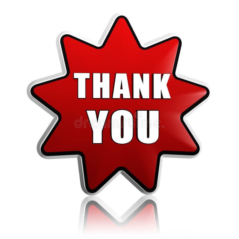 Dziękuje ciebie w czerwieni gwiazdy sztandarze ilustracja wektor