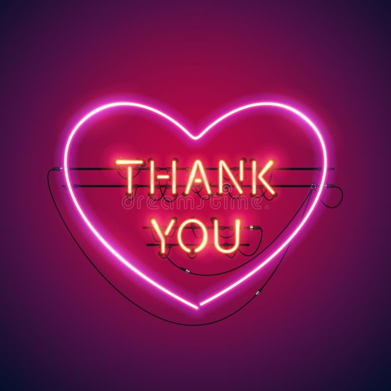 Dziękuje Ciebie w Kierowym Neonowym znaku ilustracja wektor