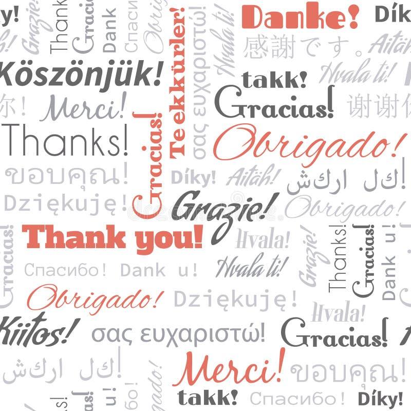 Dziękuje ciebie w różnych języków słowach, etykietki fotografia royalty free