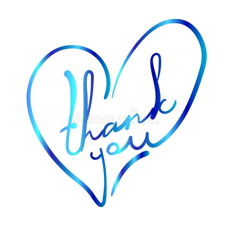 Dziękuje ciebie w stylizowanym kierowym kształcie WEKTOROWA kolorowa ilustracja na bielu royalty ilustracja