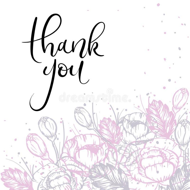 Dziękuje Ciebie Wręczać literowania kartka z pozdrowieniami Nowożytna kaligrafia również zwrócić corel ilustracji wektora ilustracji