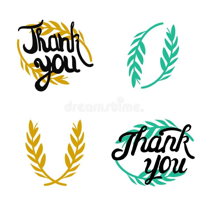 Dziękuje ciebie wręczać wytłoczonych znaki z gałązką oliwną ilustracja wektor