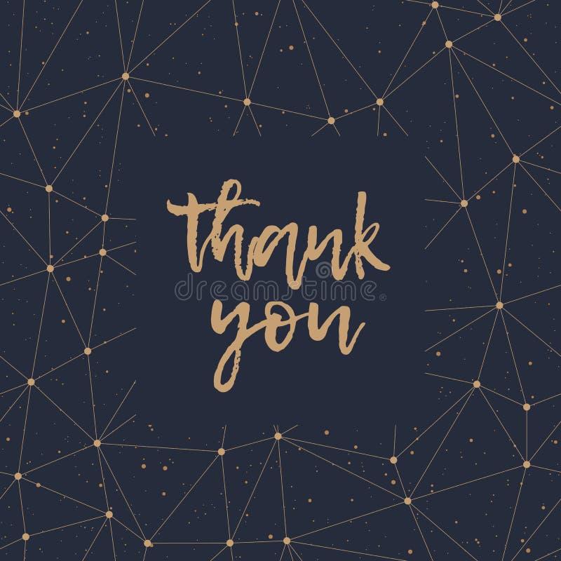 Dziękuje Ciebie złoty literowanie i poligonalny deseniowy wektor ilustracja wektor