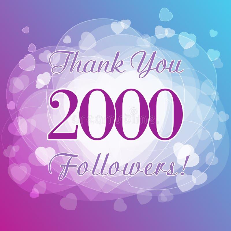 Dziękuje ciebie 2000 zwolenników kart ilustracji