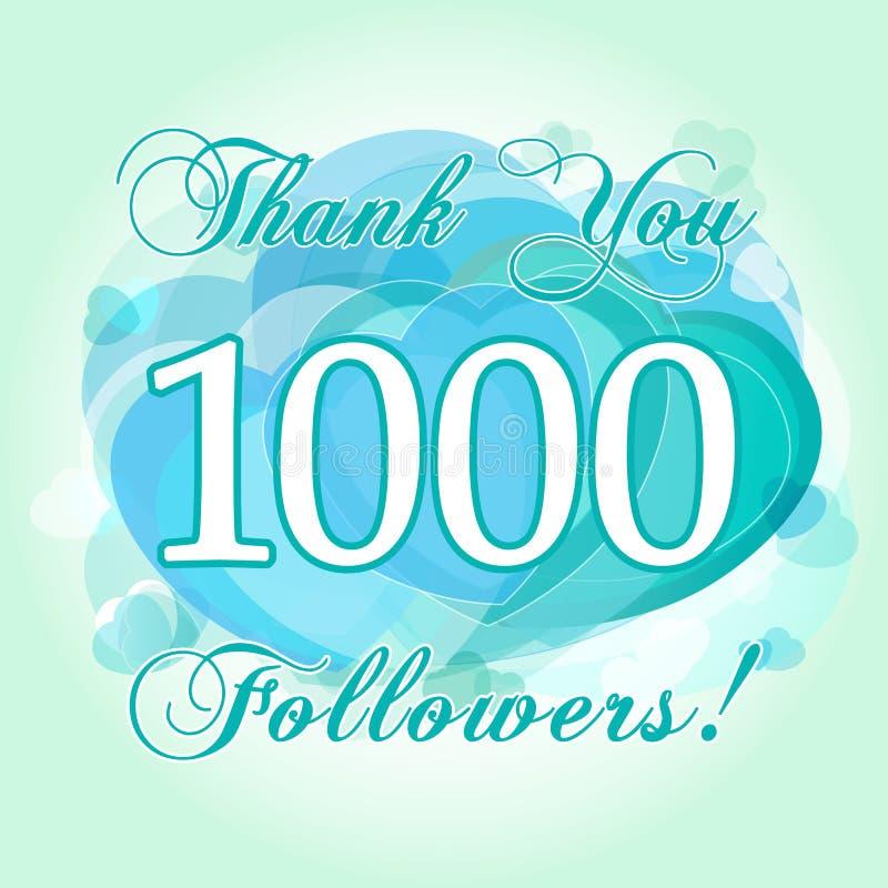 Dziękuje ciebie 1000 zwolenników karta ilustracji