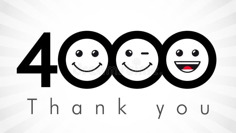 Dziękuje ciebie 4000 zwolenników liczb royalty ilustracja
