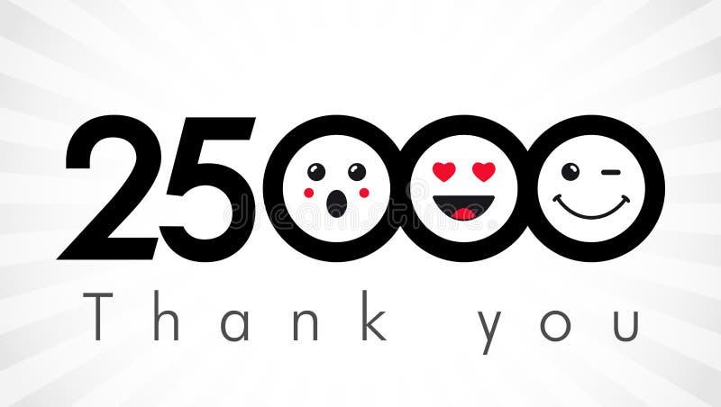 Dziękuje ciebie 25000 zwolenników liczb ilustracja wektor